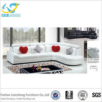 Modern lovely white leather corner l shape sectional sofa for living room