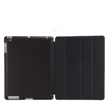 2018 hot selling triple folding leather flip stand soft TPU cover tablet case for iPad mini 2 3 4 Air 2 Pro