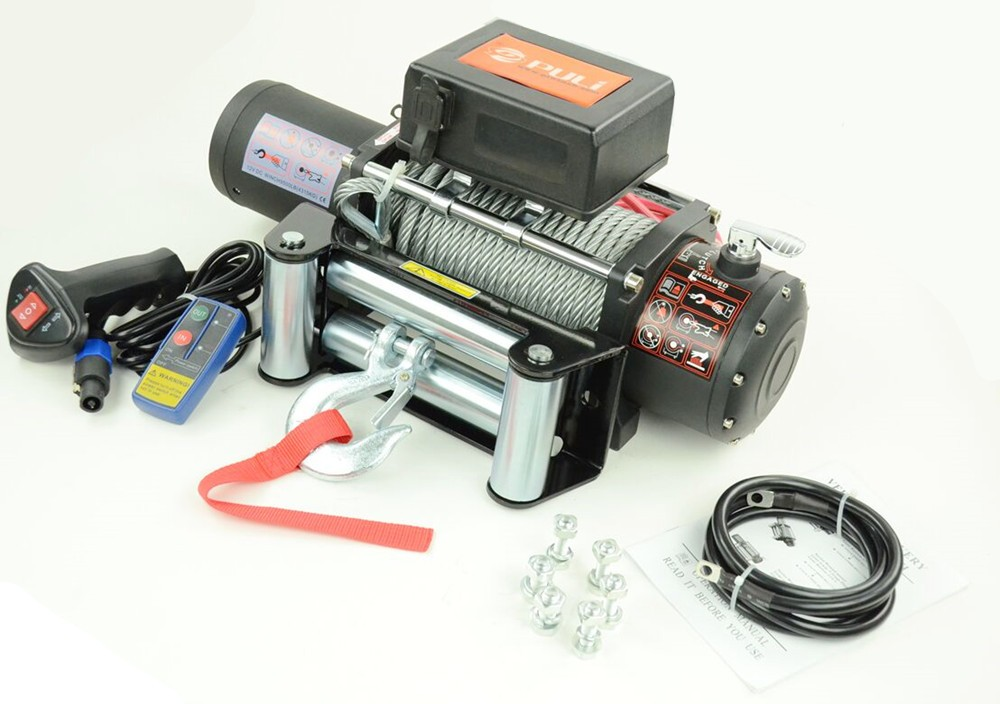 hot sale 9500lb off road car suv electric winch with roller fairlead steel rope