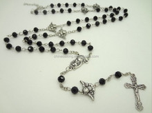 2015 Saint Jesus necklace 6mm crystal beads necklaces catholic cross pendant Rosary Necklace