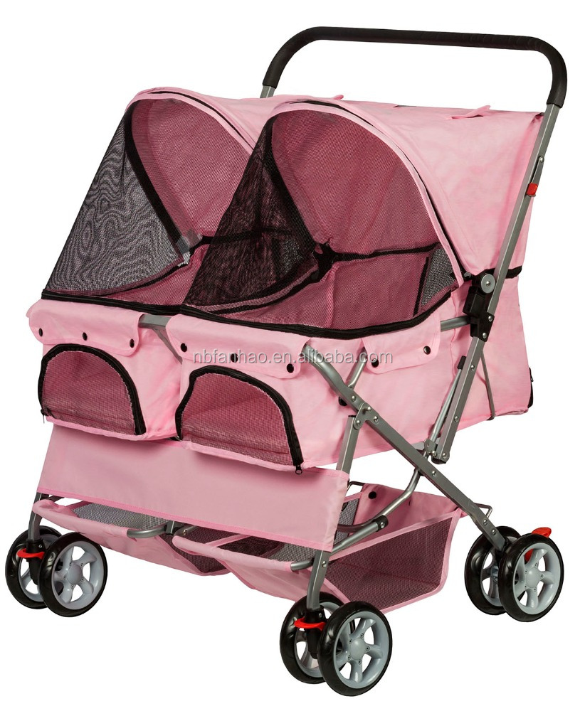 Pink Twin Carriage , Sport Pet Pushchair Stroller 4-Wheel, Dogs and Cats Double Storller