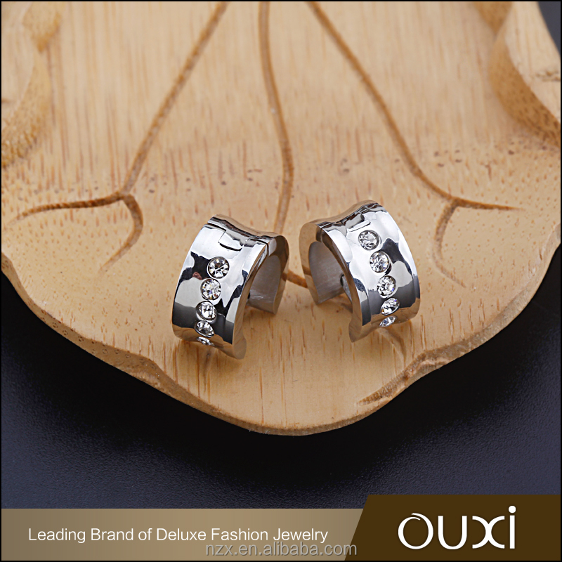 OUXI Korean style stainless steel crystal clip earrings wholesale B20027