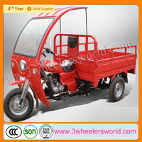 Alibaba Website 2014 Fashion Design Motorised Gasoline 3 Wheels Cargo Pedal Trike Tricycle with Roof for sale