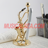 Hot sale miniature metal figurine pen holder/ Brush pot golden decorative