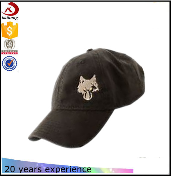 Custom Wolf Head Hat Baseball Hats and Caps Cotton Black Baseball Cap