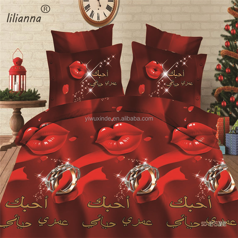 Red lips and ring reactive printing 3d bedding sets wholesale king size bedding sets