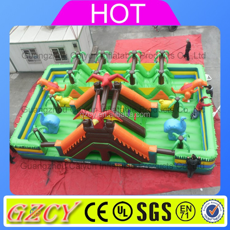 2016 hot sale infltable fun city playground/ large inflatable dinosaur castle for amusement park