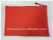 Full colors screen printing red A4 pvc zipper document bag