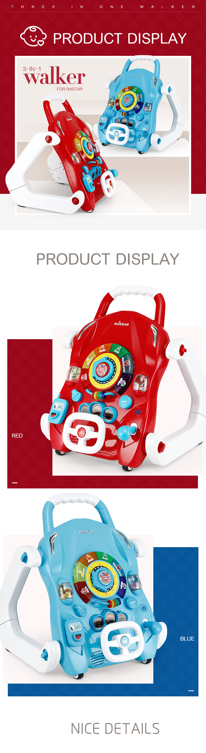 RASTAR kids toys car 3 in 1 multifunctional educational baby walker