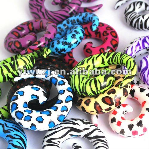 Fashion Leopard Print Zebra Print Ear Spiral Ear Tapers body piercing jewelry