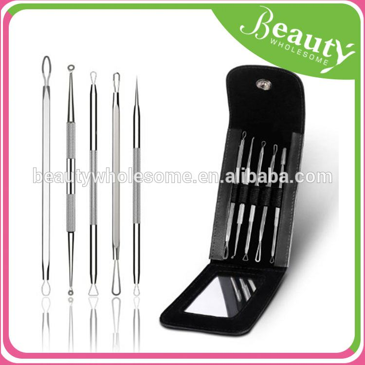 blackhead & blemish remover kit with mirror-5 piece surgical steel EH119 blackhead pimples acne needle