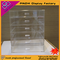 Hot Sell Low Price Clear Acrylic Makeup Organizer With 6 Drawer,acrylic clear cube makeup organizer