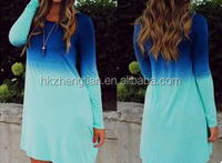 hot sale long sleeve cotton gradual changing color long T shirt blue loose dress women