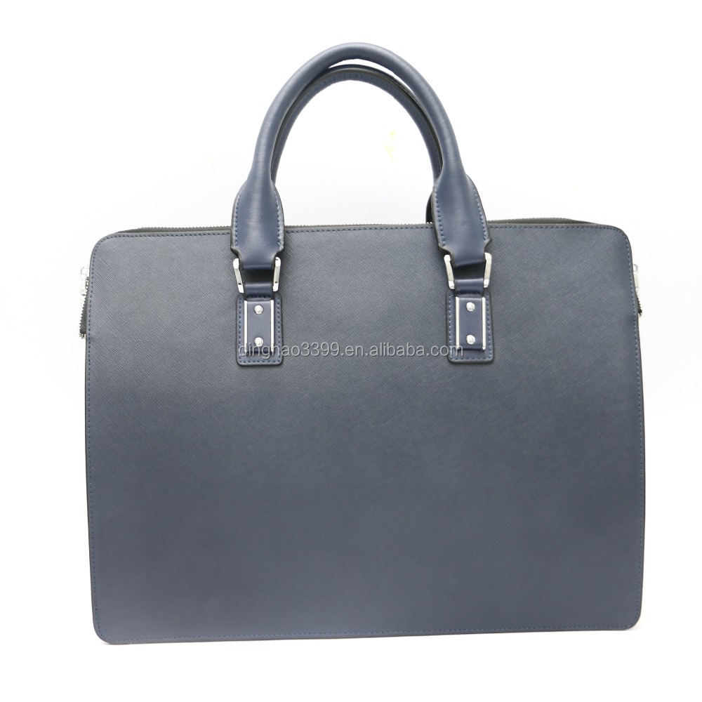 Wholesale low price high quality men's blue real leather business briefcase