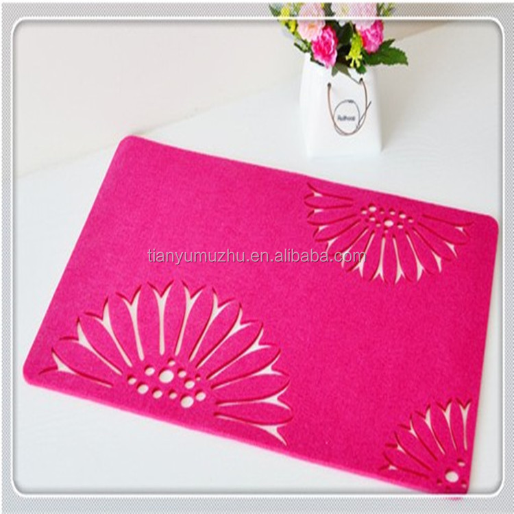 Traditional handmade felt cup mat pad table protector non woven cloth in yiwu factory