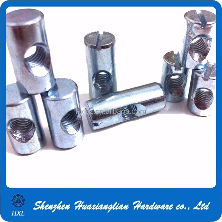 Materials variable metal round head cross / slot holes dowel barrel nuts