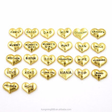 Best selling Heart shaped zinc alloy floating locket charms for floating glass lockets