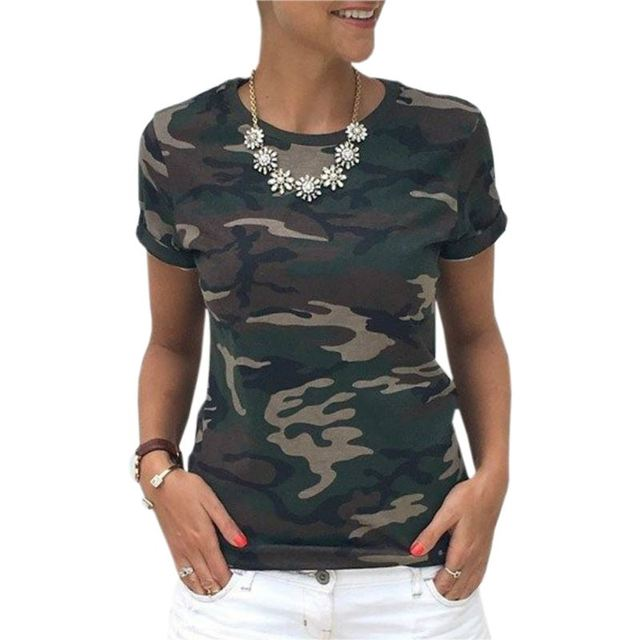 Summer Kawaii Casual T-Shirts New Arrivals Women T-Shirts Top Casual Slim Camouflage T Shirt Female Plus Size Women Tops GV569