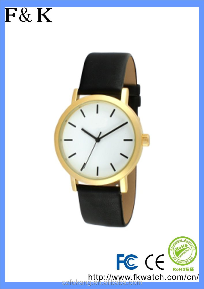 Black leather band printed gold case quartz movt men and women casual watch