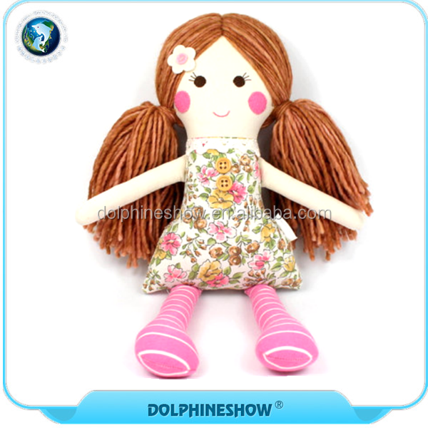 Hot Sale Kids Plush Toys Cute Girl Wear Floral Dress Baby Stuffed Cloth Rag Doll