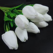 wholesale decoration artificial white fake plastic tulips flower with green branch