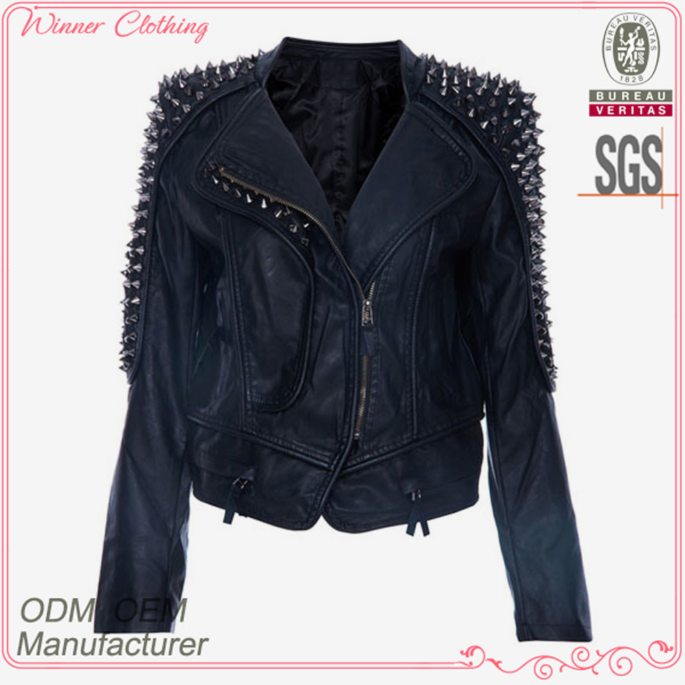 Garment manufacturer artificial long sleeve woman leather jacket