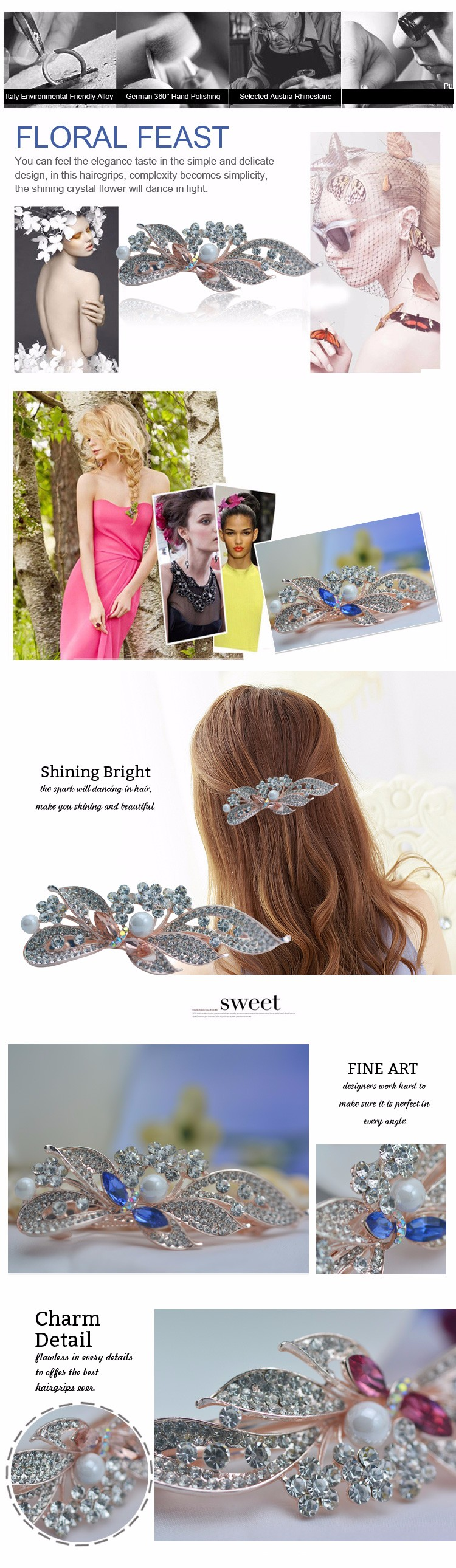 French Style Barrette Hair Clips Wholesale Women Barrette