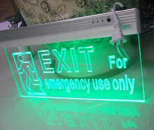Edge Lit Exit Sign - Adjustable Angle - green/white/bule/red LED - Surface Mount