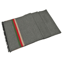 Simple stripe grey color high quality 100% Silk jacquard scarf