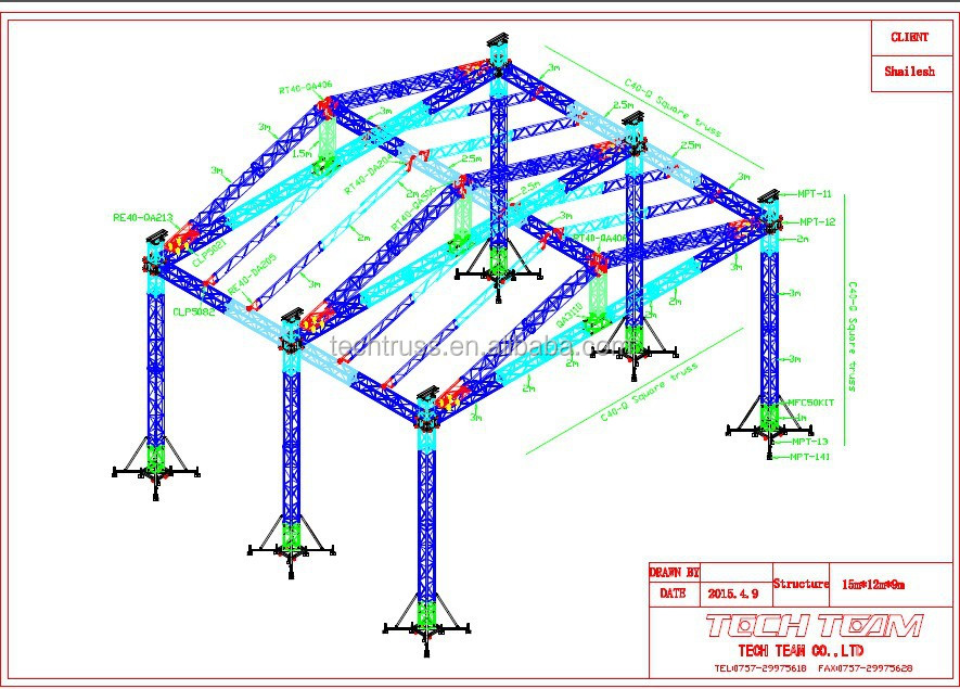Hot Sale Easy Install Aluminum Stage truss system Concert Stage Truss For Sale
