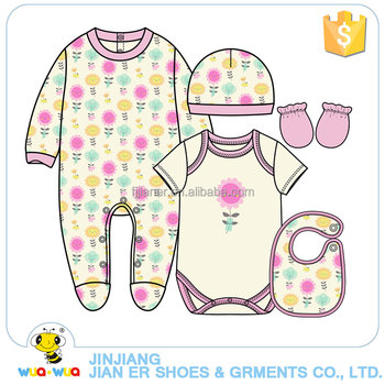 Children baby girl cotton romper and bodysuit clothes clothing set