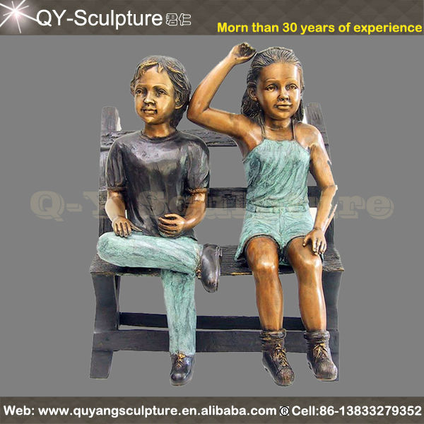 Garden Large Bronze Statue For Sale Boy And Girl Siting On the Bench