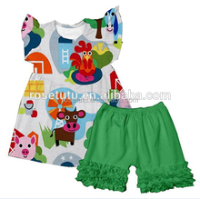 2017 manufacturer kids girls ruffled outfit flutter sleeveless exquisite clothing sets wholesale children's boutique clothing