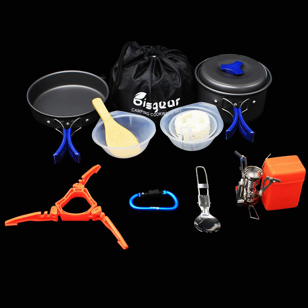 14 Stücke Wandern Backpacking Nicht-Stick Portable Outdoor Camping Kochgeschirr Set / Chaos Kit / Cookset