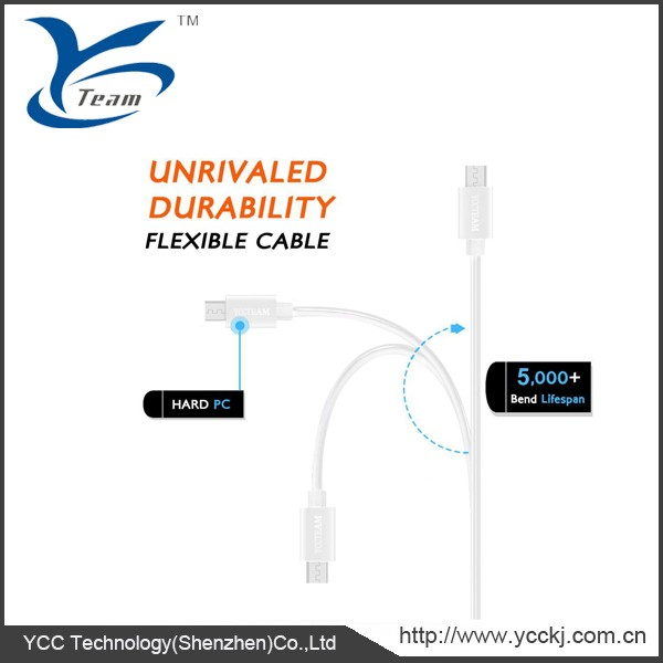 White color rapid charging cable Micro USB to USB use for Android, Samsung, HTC, Motorola, Nokia etc.