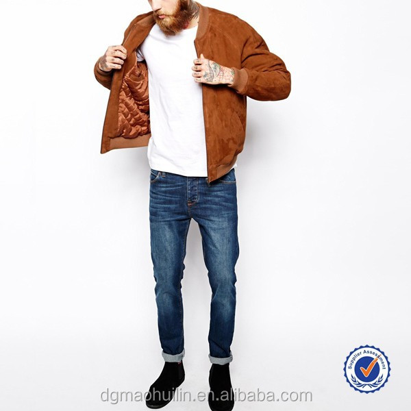 guangzhou mens clothing manufacturers custom suede bomber