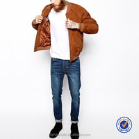 guangzhou mens clothing manufacturers custom suede bomber jacket in tan suede motorcycle jacket