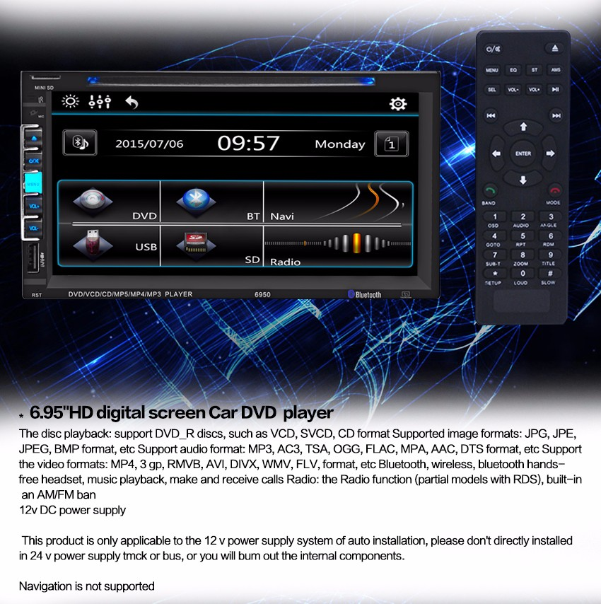 6.9 inch Touch Screen In-dash Car CD/DVD Player Stereo Bluetooth Auto Radio Double Din supports SD USB FM Radio