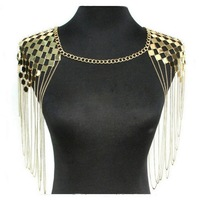 New Arrival Silver/Gold Color Multilayer Tassel Body Chain Personality metal texture tassel shoulder chain women body Jewelry