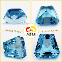 Tapper Taper Trapezoid shape natural Sky blue topaz loose gemstone beads