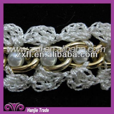 Wholesale Popular Beaded Knitted Trims Design