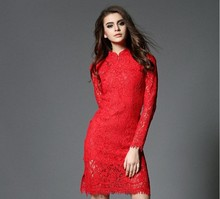 2017 Latest Design Chinese Qipao Style Bridal Red Bandage Dress For Women Lace Dress
