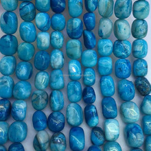 Natural Blue Mexican Crazy Lace Agate Tumbled stones Beads, Smooth Nuggets Agate Beads