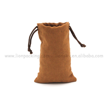 Wholesale cheap soft faux suede pouch bag for coin