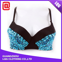 Hot sale beaded blue sequins decorated outdoor led night club bra