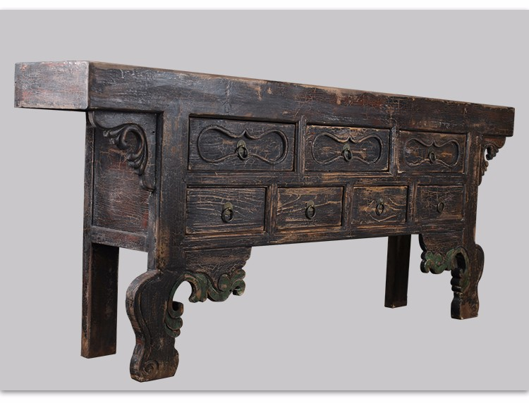 Chinese antique Alter table/Reclaimed wood seven drawer table