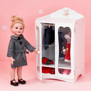 Princess Classic Wooden Closet with 3 Hangers (White) , Wooden 18 inch Doll toy Furniture, Doll Armoire
