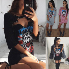 Ladies Fashion Skull printing T-shirt dress with Pin design dress MT120263