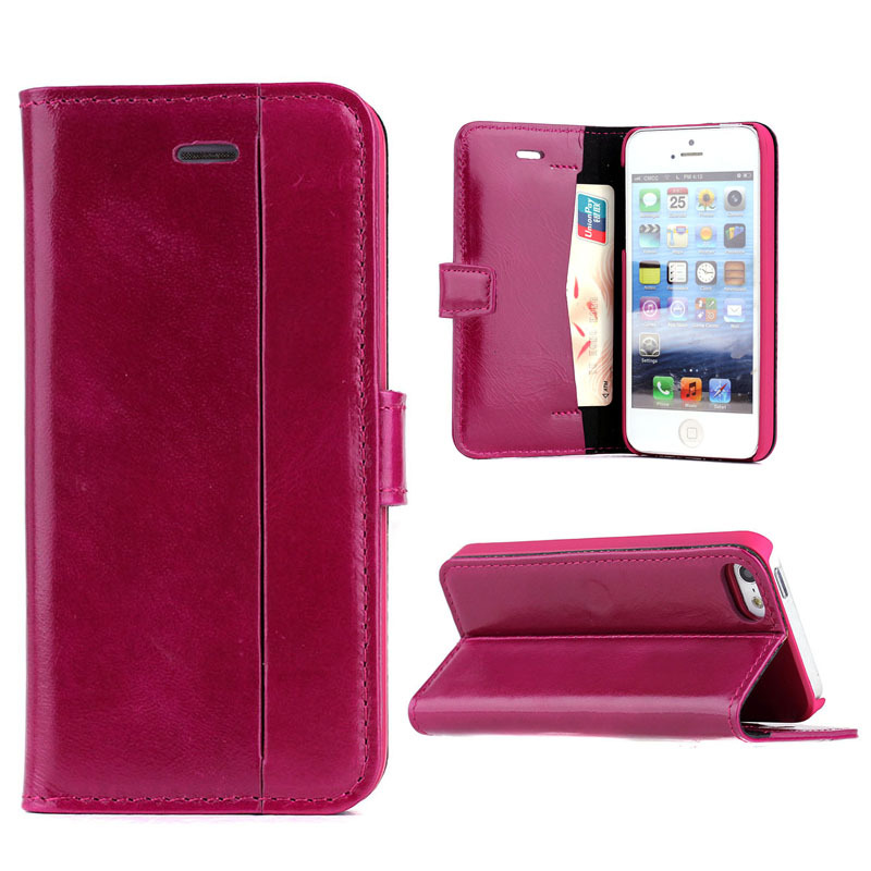 great luxury Oil wax wallet leather flip cover case for apple iPhone 5 5S