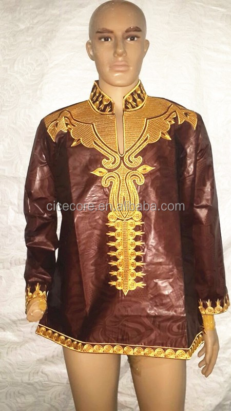 2015 new african fashion design bazin riche material embroidery dress men shirt (only top)have short and long sleeve